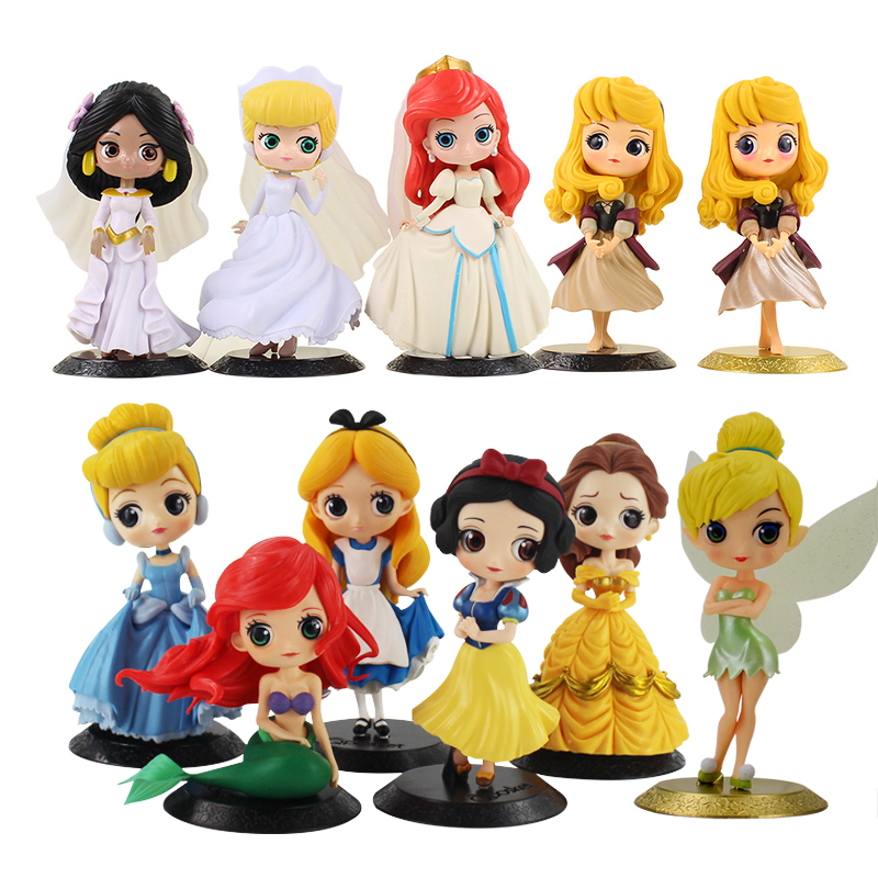 Q Posket Princess Figure Toy Snow White Alice Cinderella Belle Ariel Mermaid Rapunzel Tangled Aurora Sleeping Beauty Model Dolls disney 10cm q version snow white princess alice mermaid figure alice in wonderland ariel the little mermaid pvc figure model toy