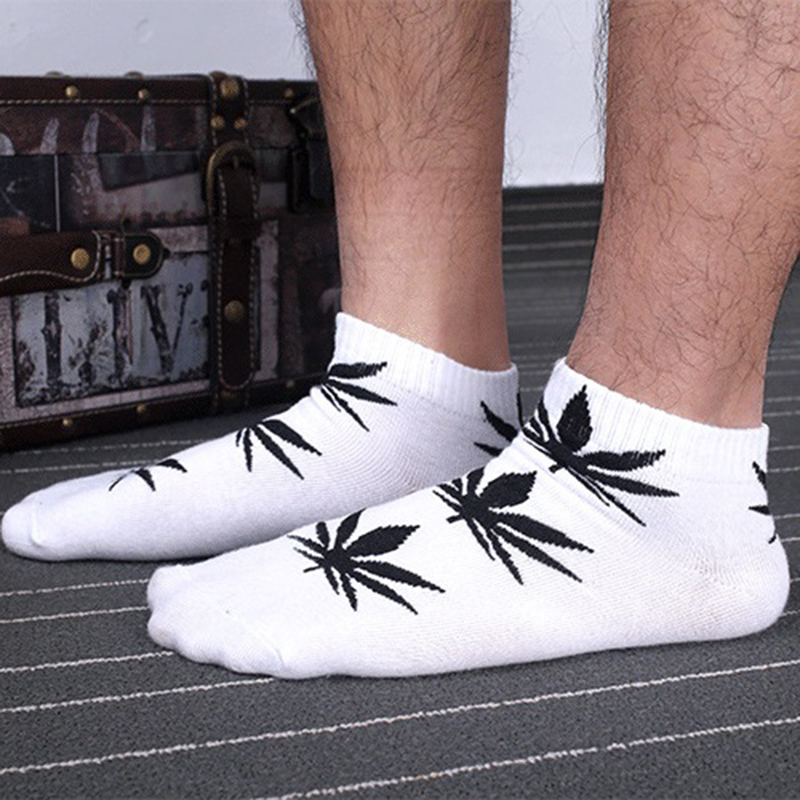 harajuku funny print weed Socks men cotton happy novelty hemp no show dress sock ankle sokken,chaussette homme,calcetines hombre