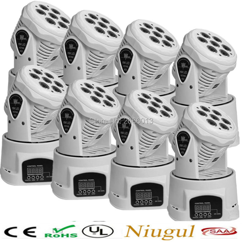 купить  8pcs White LED 7x12W mini Moving Head Light DMX effect Stage Lighting Disco dj Party NightClub Bar KTV LED moving Wash lights  онлайн