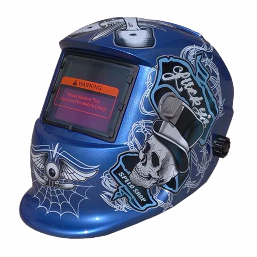 KLT-HDBU Blue Skull Solar Auto darkening TIG MIG MMA Electric Welding Mask Helmet Welder Cap Lens For Welding Machine fire flames auto darkening solar powered welder stepless adjust mask skull lens for welding helmet tools machine free shipping