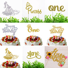 Cake Topper Flags Shiny Crystal Cupcake One Glitter Girl Toppers Bride Kids Birthday Wedding Wrapper Party Baking DIY Flag