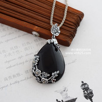925 Sterling Silver Pendant with black lady Thai Silver Garnet Pendant dendrite love