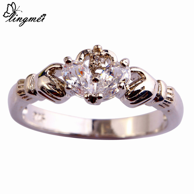 lingmei Claddagh Jewelry Fashion New Lady Blue Pink White CZ  Silver Color Ring Size 6 7 8 9 10 11 12 Love Style Gift Wholesale 1
