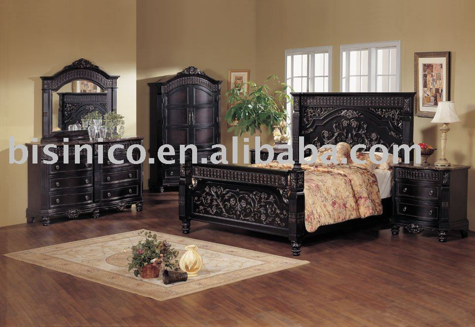 Classical Wooden Hand Carving Bedroom Furniture Black Color King