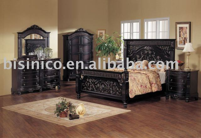 Clical Wooden Hand Carving Bedroom Furniture Black Color King Size Bed Night Stand Dresser Mirror Wardrobe