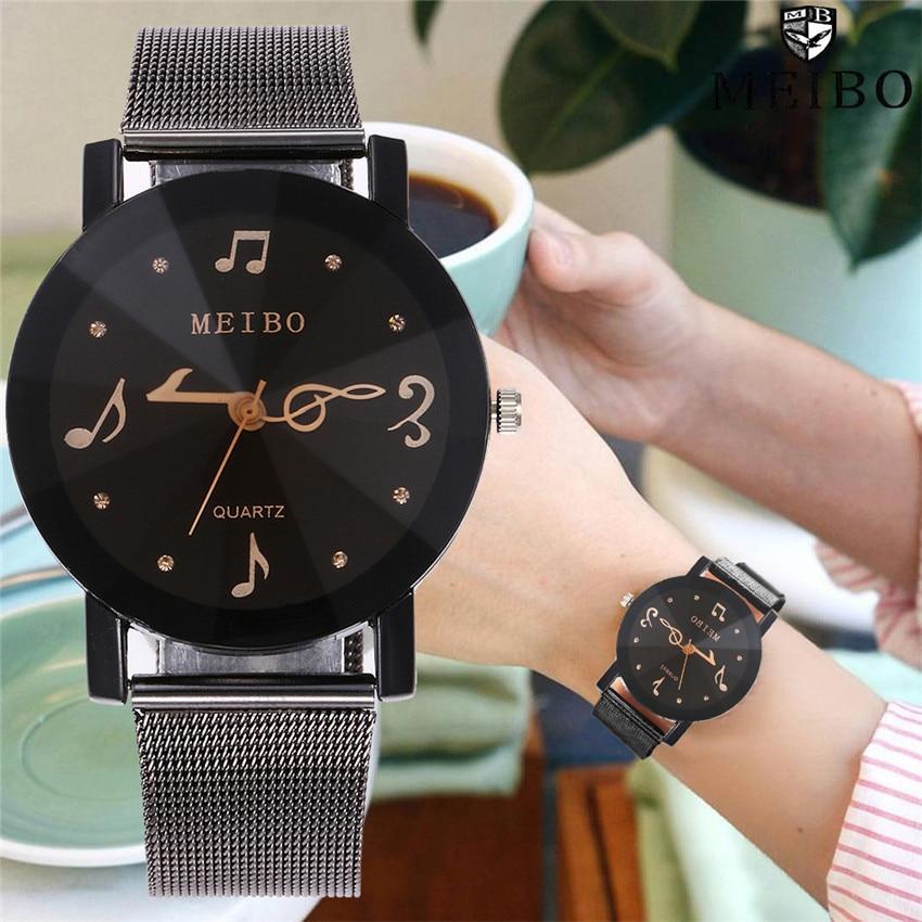 Luxury Women Watches Fashion 2019 New Design Mesh Wristwatches Women Men Music Note Quartz Analog Casual Watches Gift