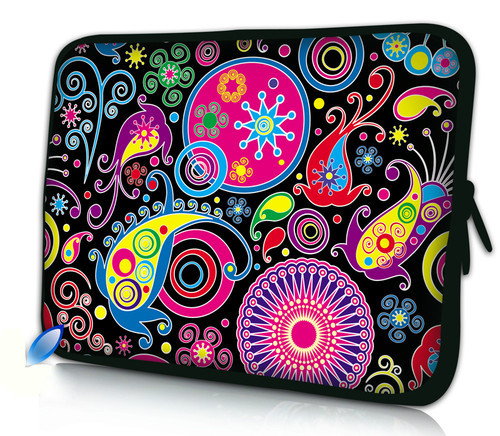 Free Shipping Colorful Flower 10 Laptop Bag Sleeve Case Pouch For 10.1 Samsung Galaxy Tab/Apple iPad 4 3 2 1 image
