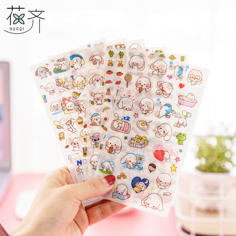 6 sheets/lot cute white dog sticker Korean Kawaii decorative tape for notebook scrapbooking Stationery school supplies 8 pcs lot funny sticker cute bear penguin cat decorative adhesive for diary letter scrapbook school supplies stationery