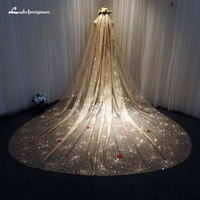 Gold One Layer Lace Tulle Long Wedding Veil New 3.5 M Bridal Veil Wedding Accessories Voile de Mariage
