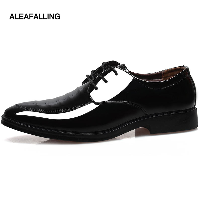Mens Patent Leather Pointed Toe New Lace Up High Heel Oxford Shoes Size 38-44