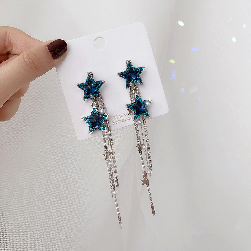 2019 classic fashion silver needle pearl flower tassel earrings zircon earrings women summer hypoallergenic jewelry in Drop Earrings from Jewelry Accessories