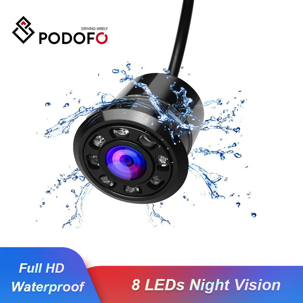 Podofo  Full HD Color CCD Cam 170 Degree Waterproof Car Rear View Backup Camera With 8 LEDs Night Vision Parking System