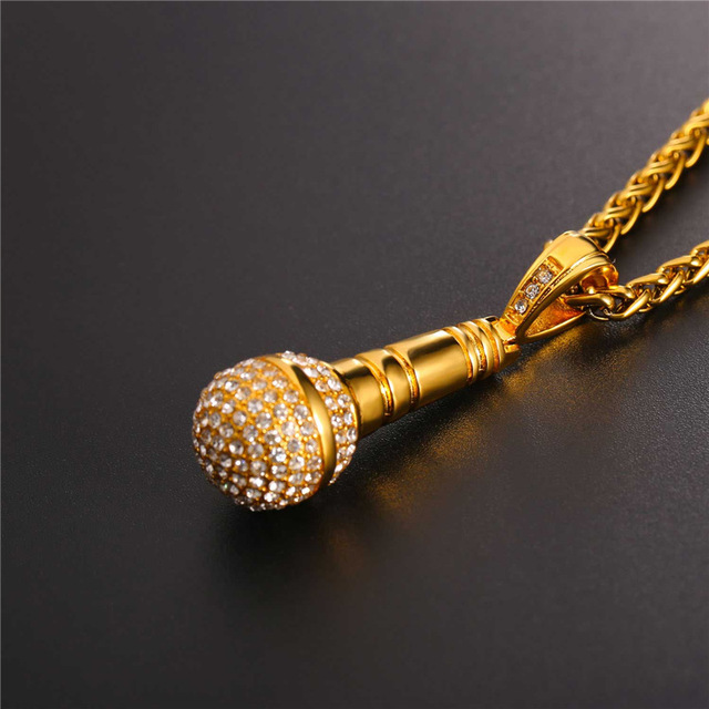 U7 Rock Punk Microphone Necklace & Pendant Men/Women Stainless Steel Gold Plated Jewelry Wholesale 2017 New Hip Hop Chain P1018