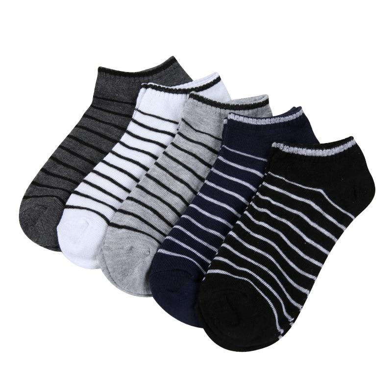 Summer Boat Socks Man Stripe Creative Men Short Socks Comfortable Casual Male Invisible Socks 5pairs/lot Men's Socks