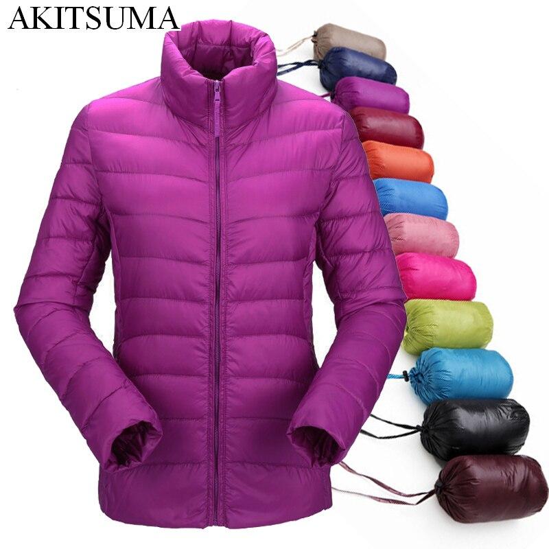 2017 женщин ультра легкий пуховик зима утка вниз куртки женщин тонкий тонкий длинный рукав куртка молния пальто карманы AKITSUMA