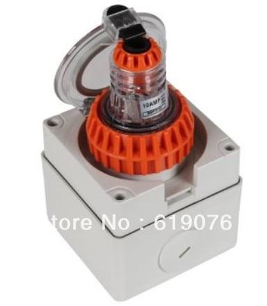 Waterproof plug socket sets 10A Outdoor power plug dense waterproof outdoor terminal box csb 104 four stone waterproof socket socket