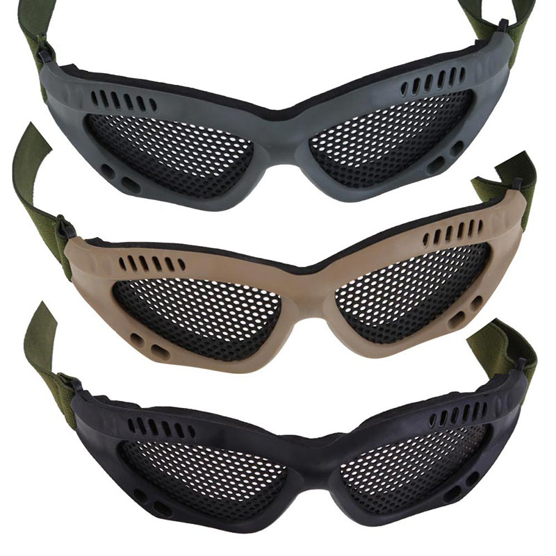 security labor protection Tactical Airsoft Outdoor Steel Mesh Eyes Protective Goggles Glasses mask Eyewear FC tactical wargame motorcycling helmet w eye protection glasses black size l7