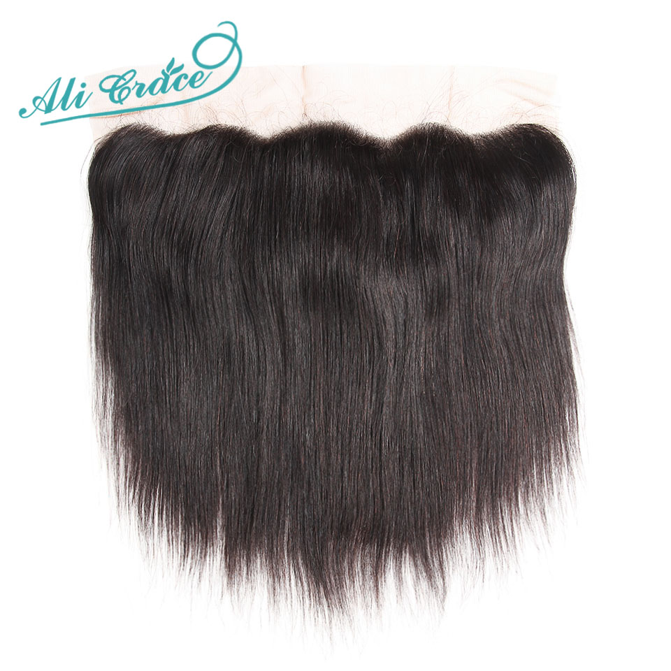 ALI GRACE Hair Indian Straight Lace Frontal 100% Remy Hair 13*4 Free And Middle Part Human Hair Closure Natural Hair-in Closures from Hair Extensions & Wigs    1