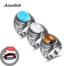 Ataullah Hip-hop Rock Ring Stainless Steel Inlaid with Crystal Male Rings Antique Personality Jewelry for Man Party Gift RW045(China)