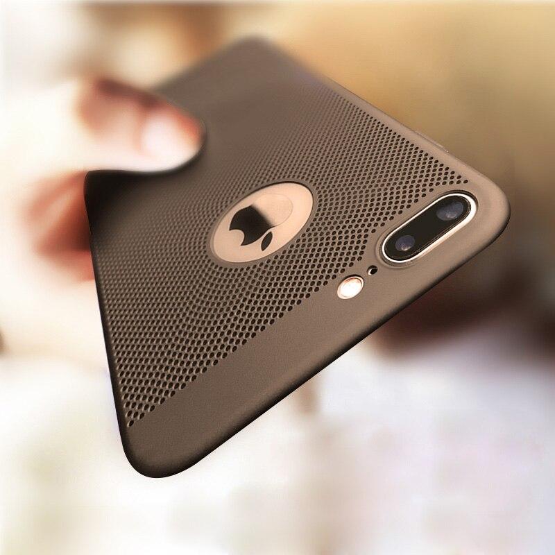 Galleria fotografica for iPhone 7 5 5S SE 8 Plus Case Ultra Slim Grid Heat Dissipate Case For iPhone 6 6S Plus Luxury Matte Hard PC Protective Cover