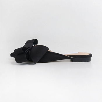 2018 spring and summer women's shoes Korean silk satin Pointed bow tie slippers Baotou flat heel sets semi slippers - Black(high 1.5cm), 35