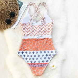 Image 2 - CUPSHE Beautiful World Mermaid Waves Print One piece Swimsuit U neck High waisted Bikini Set Padded Bathing Suit Swimwear