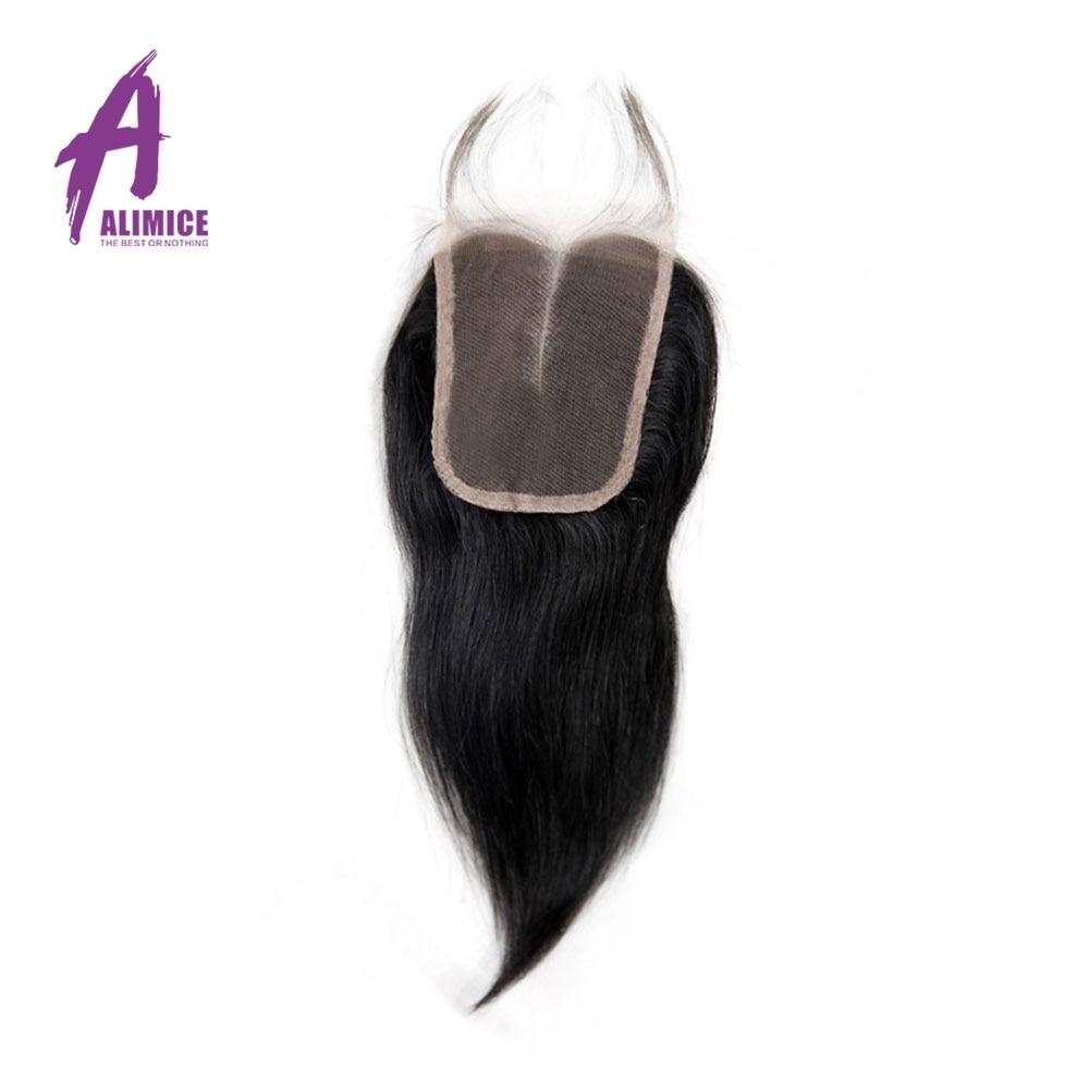 Alimice Peruvian Hair Closure Straight 4 4 Lace Closure 100 Human Hair Natural Color Remy Hair