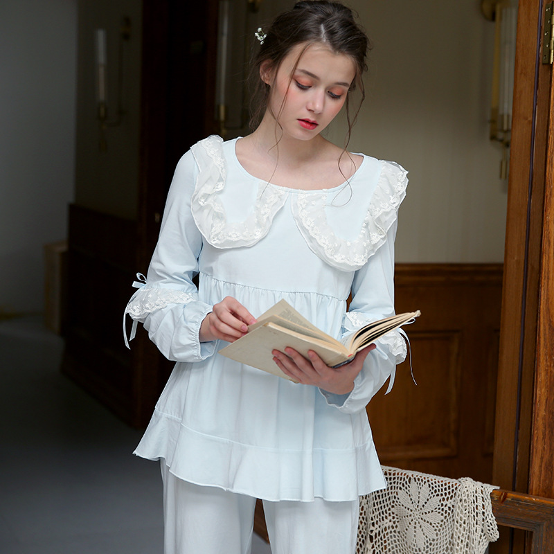 Women Pure Cotton Pajamas Set Long Sleeved Princess Sweet Lovely Vintage Royal Pajamas House Wear Suit Pijama Retro 1812184