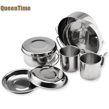 QueenTime C&ing Cookware Set Stainless Steel Plate Cup  sc 1 st  AliExpress.com & Buy camping utensils stainless steel and get free shipping on ...