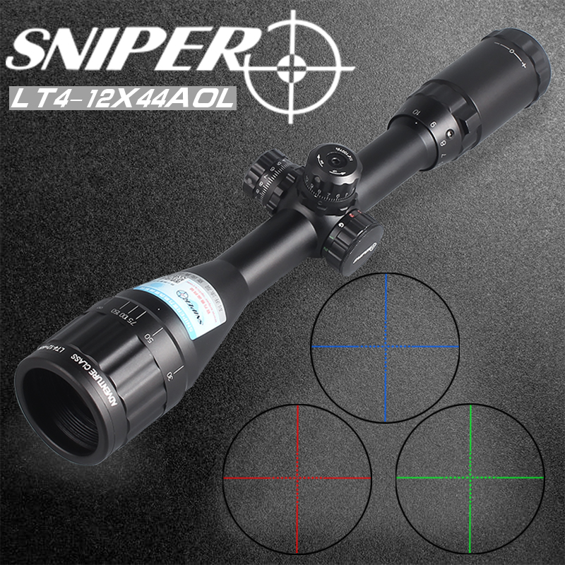 SNIPER 4-12X44 AOL Riflescope Tactical Optical Sight RGB Wire Reticle Rifle Scope Airsoft Electro Hunting Red Dot Sight Electro