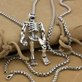 Huge Heavy 925 Sterling Silver Movable Limbs Skull Robot Punk Pendant 9L019(Necklace 24inch)