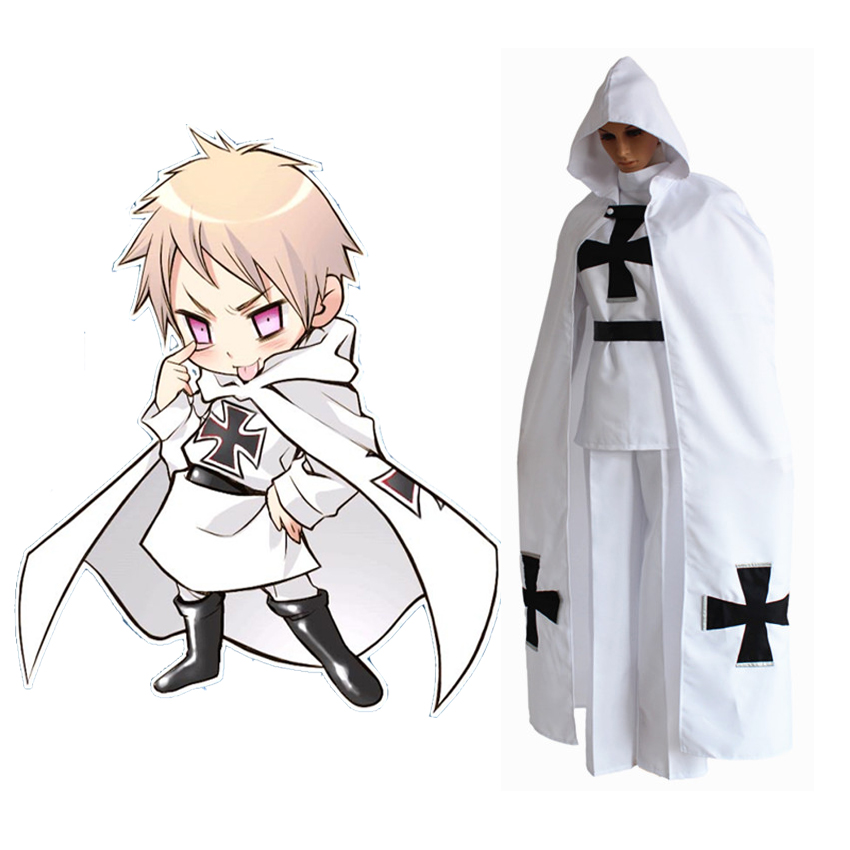 Anime APH Axis Powers Hetalia Prussia Gilbert Beilschmidt Cosplay Costume Halloween Uniform Party Army Suit(Tops+Pants+Cloak)
