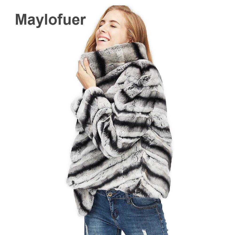2019 offre spéciale femmes réel naturel fourrure de lapin rex manteau qualité supérieure 100% véritable fourrure de lapin rex chinchilla couleur d'hiver veste