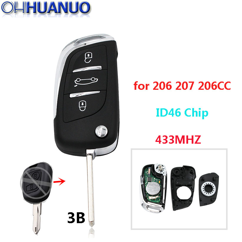 ds style folding key for peugeot 206 207 206cc 3 buttons keyless rh aliexpress com