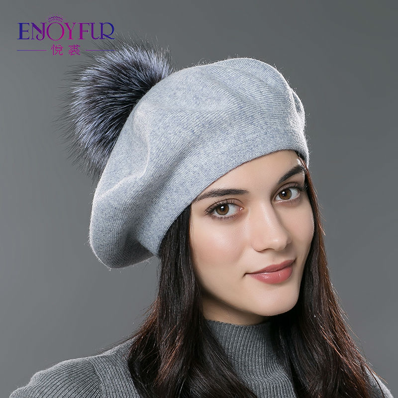 0b328717beb39 ENJOYFUR mujeres invierno femenino sombrero de la boina de lana de ...