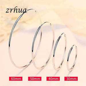 ZRHUA High Quality 925 Sterling Silver Big Round Hoop Earring for Women Girls 5 Size Suitable Party Jewelry Accessories