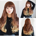 70cm Fashion Sexy Long Curly Wavy Cosplay Bangs Women Wigs Hair Wig Girl Gift Brown Yellow Ombre