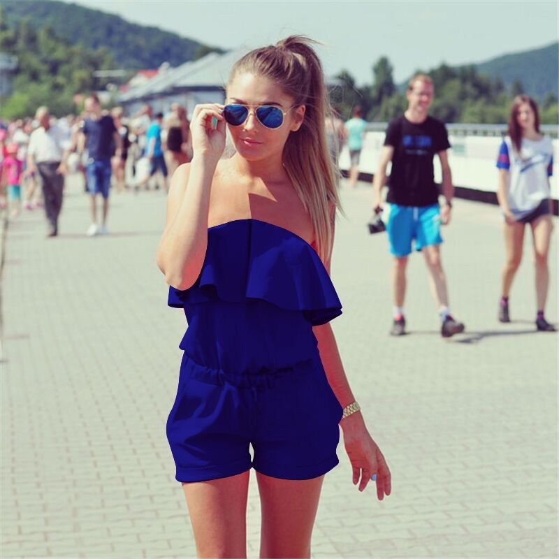2017 Hot Sale Ladies Summer Sexy Jumpsuit Refreshing Solid Shorts Plus Size Playsuits Off Shoulder Ruffles Bodysuit A1158