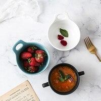 벙어리 세라믹 더블 귀 수프 그릇 크리 에이 티브 북유럽 간단한 아침 식사 찐 계란 그릇 수프 컵 가정용 서양 디저트 수프 컵
