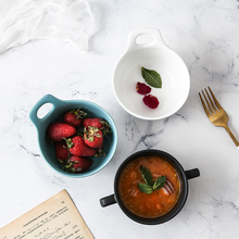 Dumb Ceramic Double Ear Soup Bowl Creative Nordic Simple Breakfast Steamed Egg Bowl Soup Cup Household Western Dessert Soup Cup bai lin tong oil soup diet bailingtong oil tang zhengpin lotus soup a bowl of oil stocks blue tea soup page 3