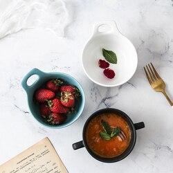 Głupi ceramiczne podwójne ucha miska zupy kreatywny Nordic proste śniadanie gotowane na parze jajko miska kubek na zupę gospodarstwa domowego zachodniej deser kubek na zupę