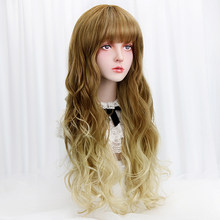 "29""Synthetic Long Wavy Cosplay Lolita Wigs With Bangs Blonde Brown Ombre Costume Party Cosplay Wigs For Women Heat Resistant(China)"