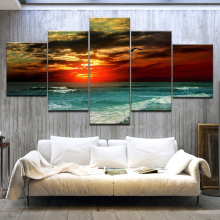 Living Room HD Printed Painting Home Decoration 5 Panel Sunset Glow Tinted The Sky Red Posters Modern Wall Art Pictures Frame