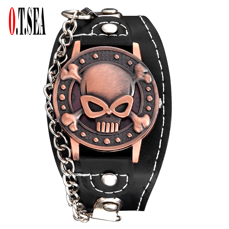 Hot Sales O.T.SEA Brand Copper Skull Leather Watch men fashion punk sports Quartz Wrist Watch with bracelet 1831-11 free drop shipping 2017 newest europe hot sales fashion brand gt watch high quality men women gifts silicone sports wristwatch