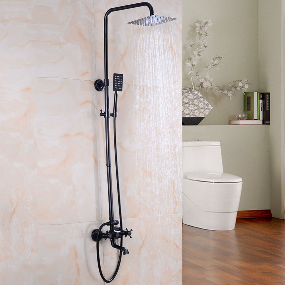 black shower set wall mounted 2 function shower faucet square 8 inch shower head brush finish high pressure shower system AXY7