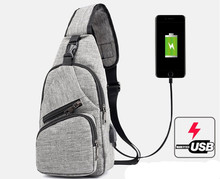 HUANILAI Crossbody Bags Chest For Men Messenger USB Charging Mens Handbag Women Shoulder
