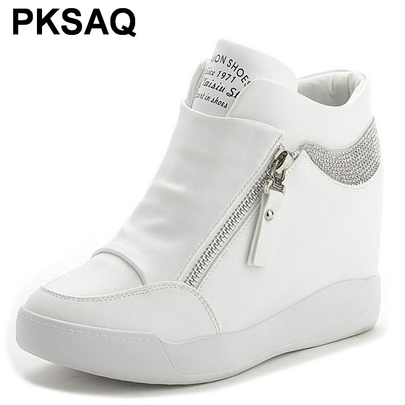 b47427eaf6 Sneakers 2019 White Rhinestone WedgesPlatform Shoes Top Quality Platform  Single Shoes Height Increasing Women Casual Shoes