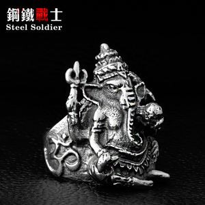 Steel soldier Men Thailand Buddha elephant ring Stainless Steel Silver color Thai Pikanet GANESHA Ring jewelry(China)