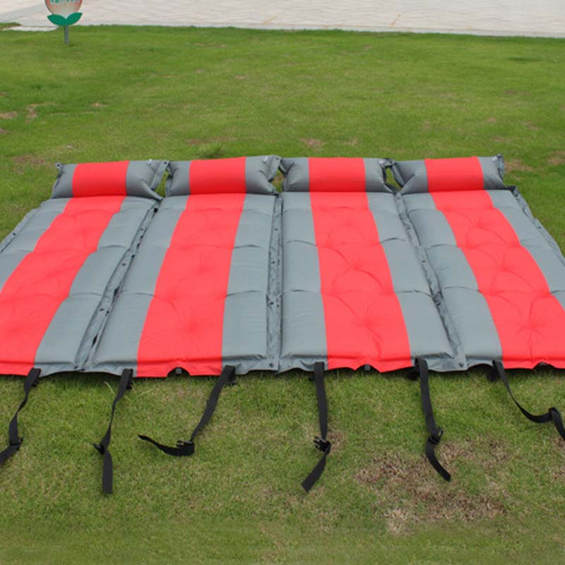 ФОТО Inflatable bed beach mat mattress inflatable camping mat air folding mattress air mat waterproof picnic mat fold pillows spliced