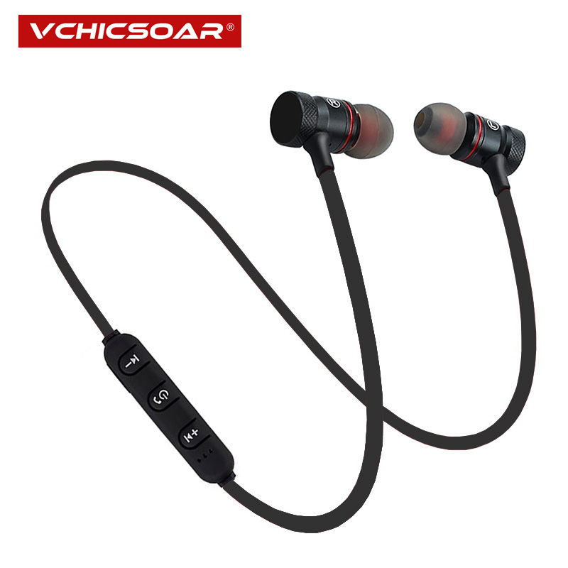 Vchicsoar V1 Metal Magnetic Bluetooth Earphone Sports Running Stereo Bass Wireless Earphones Earbuds Headset with Mic for iPhone each g1100 shake e sports gaming mic led light headset headphone casque with 7 1 heavy bass surround sound for pc gamer